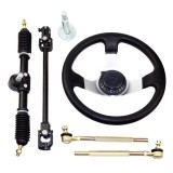 Steering Wheel Assembly Set 110cc Go Kart Tie Rod Rack Adjustable Shaft New